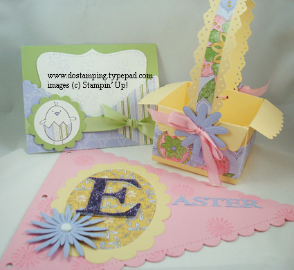 stampin up, dostamping, dawn olchefske, demonstrator, easter, top note die, pennant die, scallop envelope die, easter basket, big shot