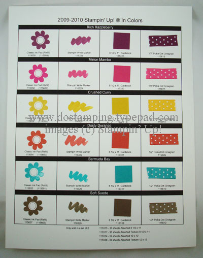 Stampin Up 2009 10 In Colors Ink Markers Ribbon Chart