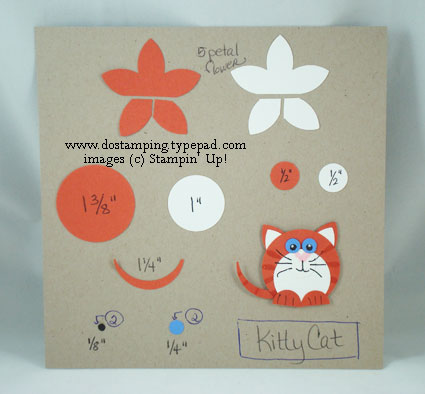 stampin up, dostamping, dawn olchefske, demonstrator, punch art, kitty, 5 petal flower punch