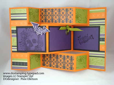 trifold open the happy halloween greeting is from the house of haunts stamp set the rest of the spooky images are from the crypt the designer series - Tri Fold Display Board Design Ideas