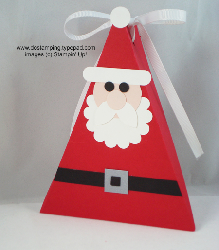 stampin up, dostamping, dawn olchefske, demonstrator, punch art, santa, triangle box