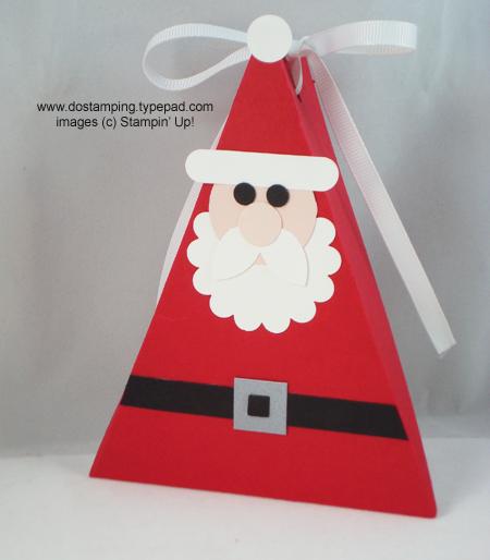 stampin up, dostamping, dawn olchefske, demonstrator, punch art, santa, triangle box
