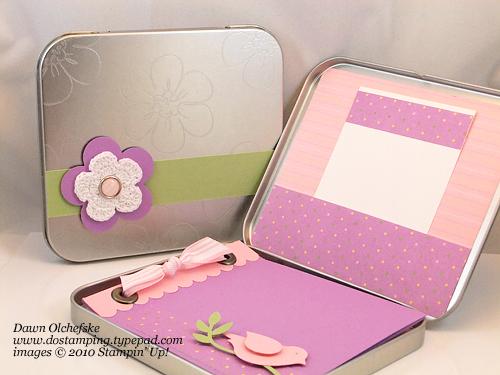 Springtime Mini Album Tin With Stampin Up 2 Step Bird
