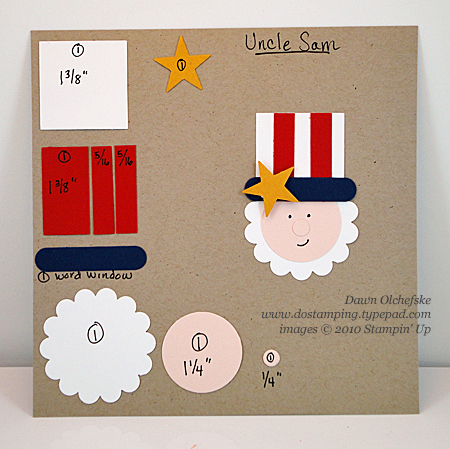 stampin up, dostamping, dawn olchefske, uncle sam, punch art, patriotic