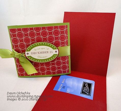 stampin up, dostamping, dawn olchefske, demonstrator, gift card holder, holly and jolly rub ons