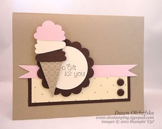 stampin up, dostamping, dawn olchefske, demonstrator, cupcale builder punch, ice cream cone, punch art, birthday