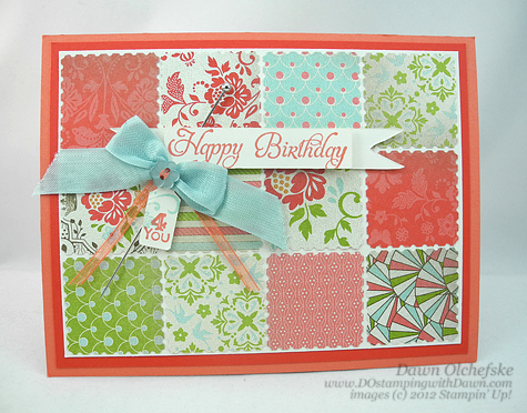 stampin up, dostamping, dawn olchefske, demonstrator, postage stamp punch, quilt card, everyday enchantment