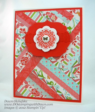 stampin up, dostamping, dawn olchefske, demonstrator, every day enchantment dsp, herringbone technique