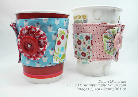 stampin up, dostamping, dawn olchefske, demonstrator, summer smooches designer fabric, twitterpaded designer fabric, coffee cozy