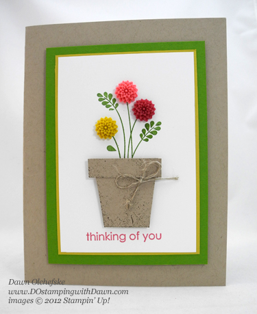 stampin up, dostamping, dawn olchefske, demonstrator, flower pot, embellished events, dahlias
