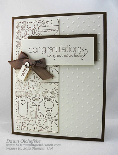 stampin up, dostamping, dawn olchefske, demonstrator, packed for baby, friendly phrases, baby card