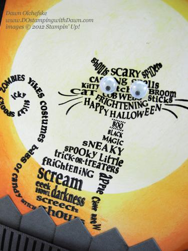 stampin up, dostamping, dawn olchefske, demonstrator, frightening feline, moonlighting technique, googlies, designer rosette die, halloween