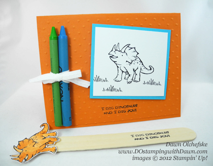 stampin up, dostamping, dawn olchefske, demonstrator, dinoroar, color cards, bookmarks