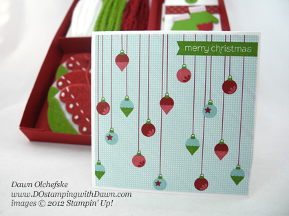 stampin up, dostamping, dawn olchefske, demonstrator, holiday tags and trim gift box, sweater trim, make a mitten, mitten builder punch, handmade holidays stitched felt, christmas