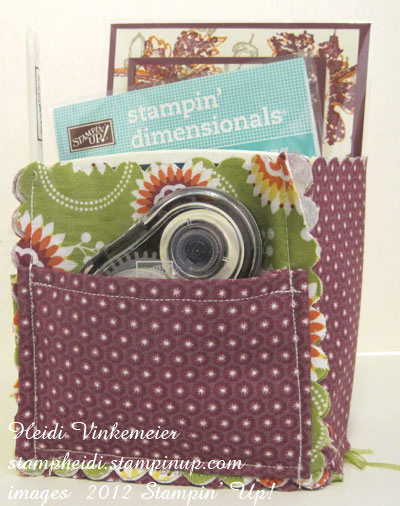 stampin up, dostamping, dawn olchefske, demonstrator, heidi vinkemeier, fabric tabletop organizer, floral district designer fabric
