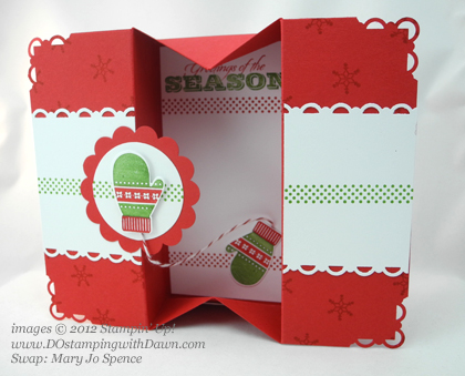 stampin up, dostamping, dawn olchefske, demonstrator, mary jo spencer, box card, make a mitten, mitten builder punch, christmas