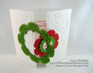 stampin up, dostamping, dawn olchefske, demonstrator, floral frames framelits, wreath, interlocking card, daydream medallions, big shot, christmas
