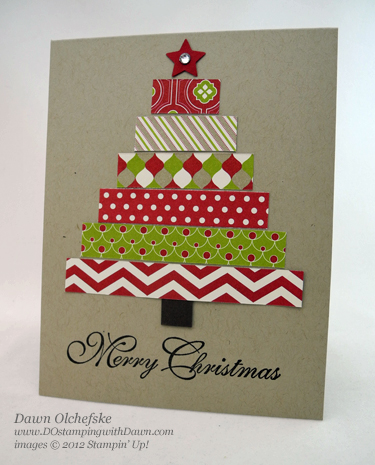 stampin up, dostamping, dawn olchefske, demonstrator, festival of prints dsp, christmas tree card