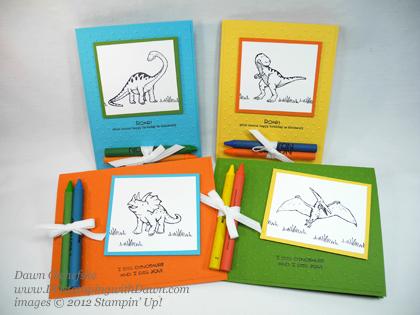 stampin up, dostamping, dawn olchefske, demonstrator, dinoroar, coloring cards
