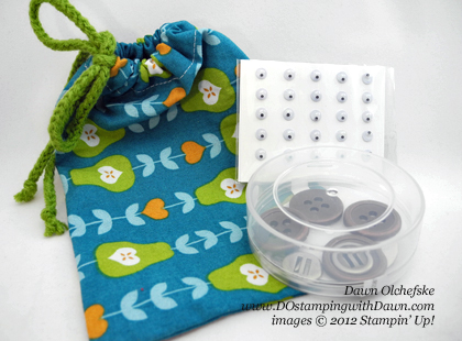 stampin up, dostamping, dawn olchefske, demonstrator, sweater trim ribbon, orchard harvest fabric, drawstring bags
