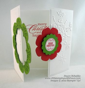 stampin up, dostamping, dawn olchefske, demonstrator, floral frames framelits, wreath, interlocking card, daydream medallions, big shot, christmas