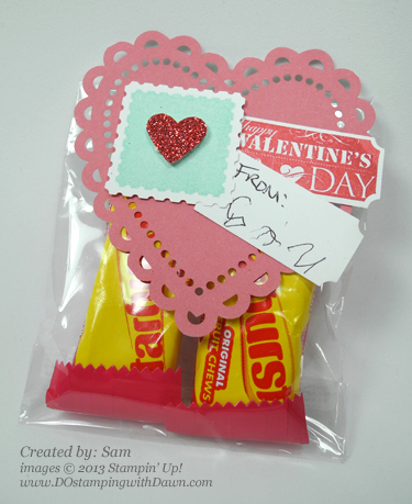 stampin up, dostamping, dawn olchefske, demonstrator, valentine, sent with love promotion, that's the ticket, treat bags