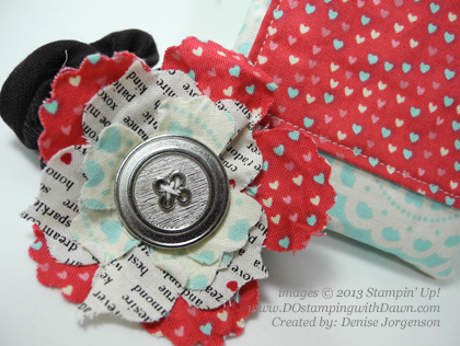 stampinup, dostamping, dawn olchefske, demonstrator, fabric frenzy, Hair tie, designer fabric ideas, Denise Jorgenson