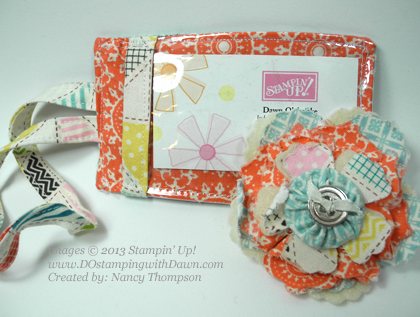 stampin up, dostamping, dawn olchefske, Tea For Two Designer Fabric, lugguage tag, big shot flower pin, Nancy