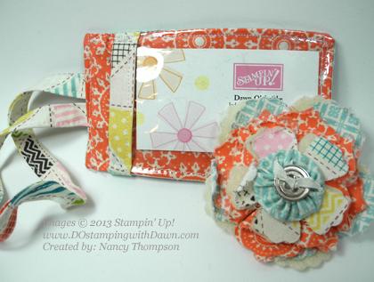 stampin up, dostamping, dawn olchefske, Tea For Two Designer Fabric, lugguage tag, big shot flower pin, Nancy