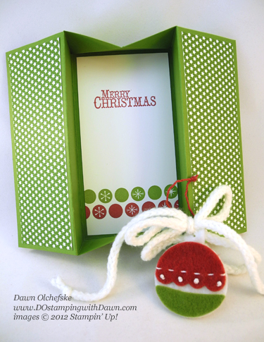 stampin up, dostamping, dawn olchefske, demonstrator, box card, sweater trim, handmade holidays stitched felt ornament, christmas