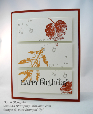 stampin up, dostamping, dawn olchefske, demonstrator, french foliage, triple panel card, birthday