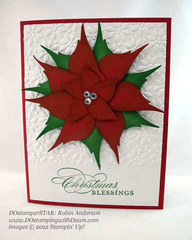 stampin up, dostamping, dawn olchefske, demonstrator, robin anderson, poinsetta, bird builder punch,, punch art, christmas