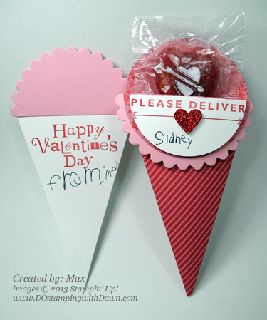 stampin up, dostamping, dawn olchefske, demonstrator, valentine, sent with love promotion, wacky wishes, treat bags, petal cone die, big shot