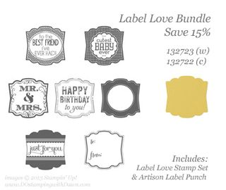 stampin up, label love bundle, save 15%
