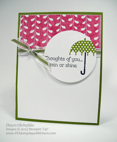 dostamping, dawn olchefske, stampin up card ideas, Quick & Cute, clearance rack, rain or shine stamp set