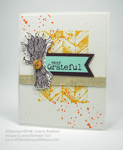 dostamping, stampin up, dawn olchefske,  fall themed swaps, Truly Grateful, Gorgeous Grunge, DOstamperSTARS, Laurie Z