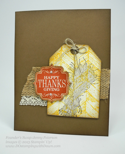dostamping, stampin up, dawn olchefske,  fall themed swaps, Truly Grateful, Tags 4 You, founder's circle