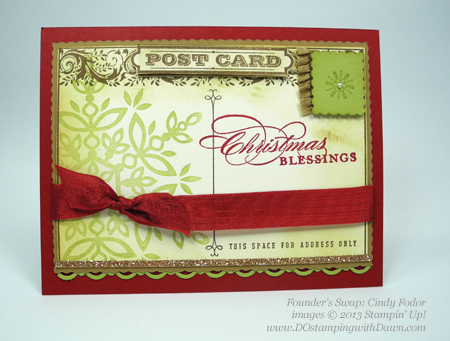 dostamping, stampin up, dawn olchefske, christmas cards, holiday mini, Post Card, Festive Flurries