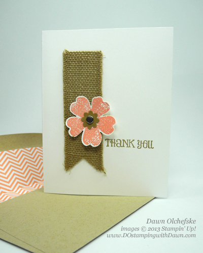dostamping, Dawn Olchefske, Stampin' Up! Flower Shop, Burlap Ribbon card, #quickcute