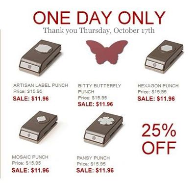 dawn olchefske, DOstamping, Stampin' Up! 10/17 Thank you Thursday Sale, punch sale!
