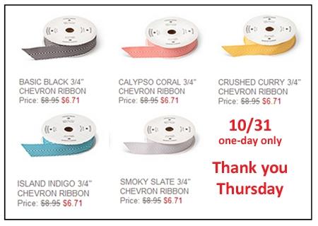 Stampin' Up!, Dawn Olchefske, DOstamping, Thank You Thursday, 25% off Chevron Ribbon