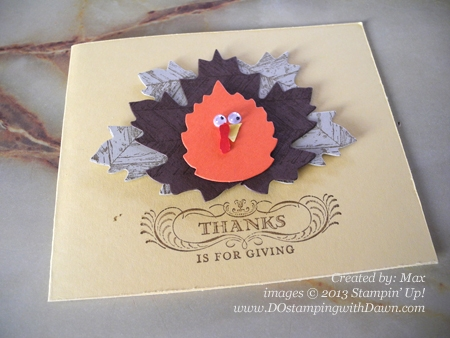 dostamping, stampin up, cardmaking, thanksgiving, turkey, autumn accents die. Max's Turkey Curd