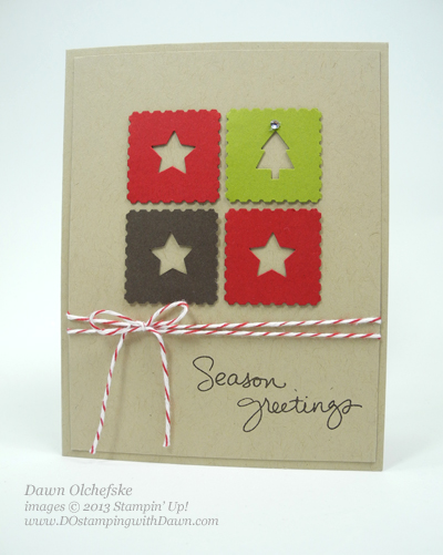 #dostamping, #stampinup, Merry Minis Punch Pack used to create #quickcute #Christmas card