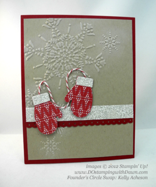 stampin up, dostamping, dawn olchefske, demonstrator, kelly acheson, mitten builder punch, christmas