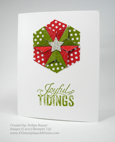 dostamping, stampinup, christmas card, Robyn Rasset, hexagon punch