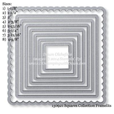 #squarescollectionframelits, #dostamping, #dawnolchefske, #stampinup, #bigshot, #framelitsizes, #framelits, #papercrafting, #cardmaking
