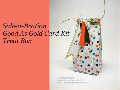 #cardmaking #dawnolchefske, #dostamping #goodasgoldcardkit #papercrafting #saleabration #stampinup #treatbox
