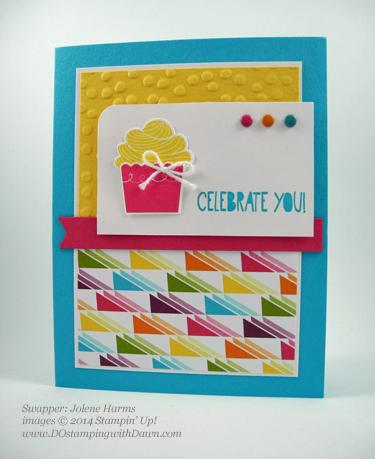 Jolene Harms #stampin up #dostamping #dawnolchefske #cupcakebuilderpunch #punchart #birthday