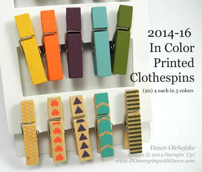 #dostamping #stampinup #dawnolchefske #2014incolor #craftsupplies #diy #cardmaking #PrintedClothespins