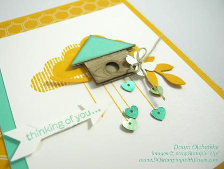 #cardmaking, #colorchallenge, #dawnolchefske, #diy, #dostamping, #papercrafting, #stampinup, #thursdaychallenge #Whatsup #punchart #birdhouse #HelloLove